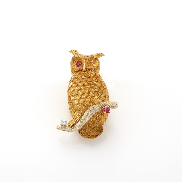 Two-Color Gold, Ruby and Diamond Winking Owl Brooch