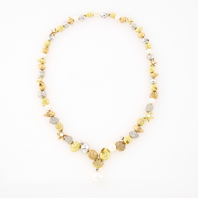 Morelli Tricolor Gold, Diamond and Cultured Pearl Shell Necklace