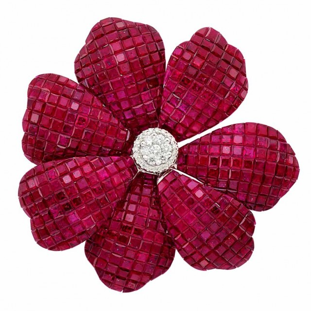 White Gold, Diamond and Invisibly-Set Ruby Flower Pendant-Brooch