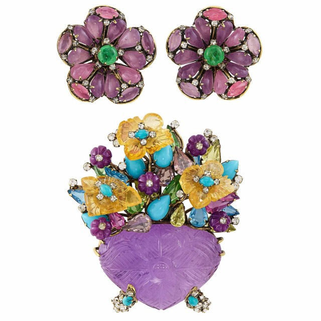 Metal, Carved Amethyst and Multicolored Glass Brooch and Pair of Flower Earclips, Iradj Moini