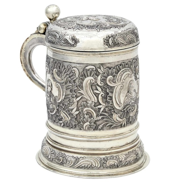 German Silver Gilt Covered Tankard