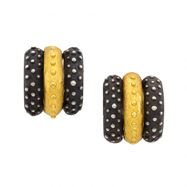Pair of High Karat Gold and Oxidized Sterling Silver Earclips, Denise Roberge