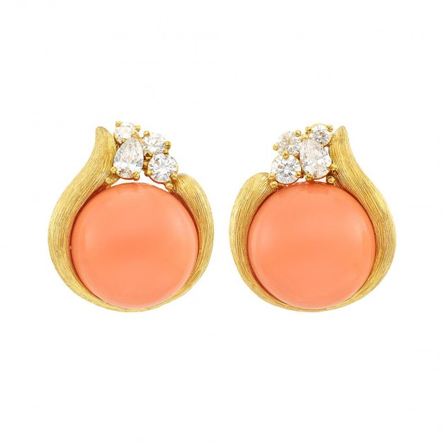 Pair of Gold, Coral and Diamond Earclips, Henry Dunay