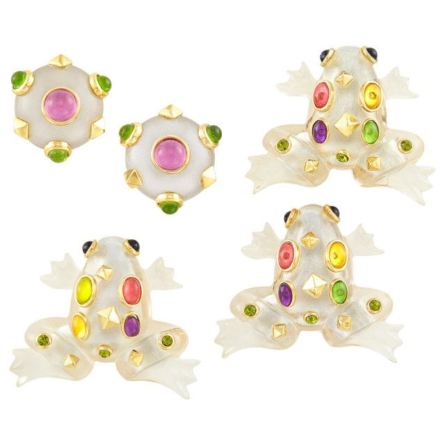 Three Metal, Acrylic and Mulitcolored Rhinestone Frog Brooches and Pair of Earclips
