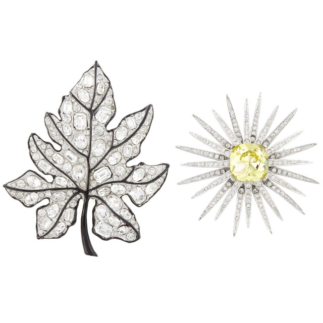 Two Metal and Rhinestone Brooches, Kenneth Jay Lane