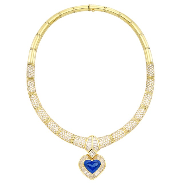 Gold, Sapphire and Diamond Pendant-Necklace