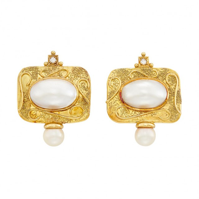 Pair of Gold, Mabé Pearl, Cultured Pearl and Diamond Earclips, Elizabeth Gage