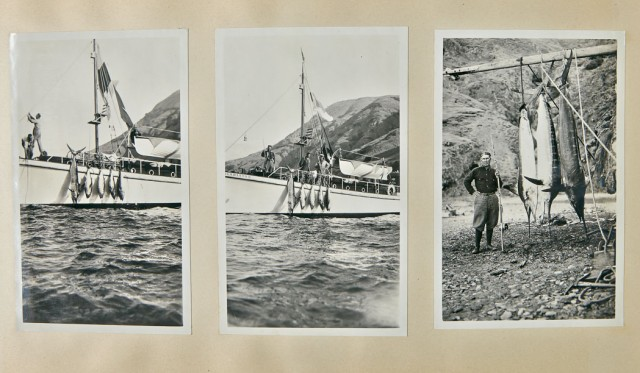 GREY, ZANE  Inscribed photograph album depicting Grey  and party at Catalina, fishing, and in Arizona.