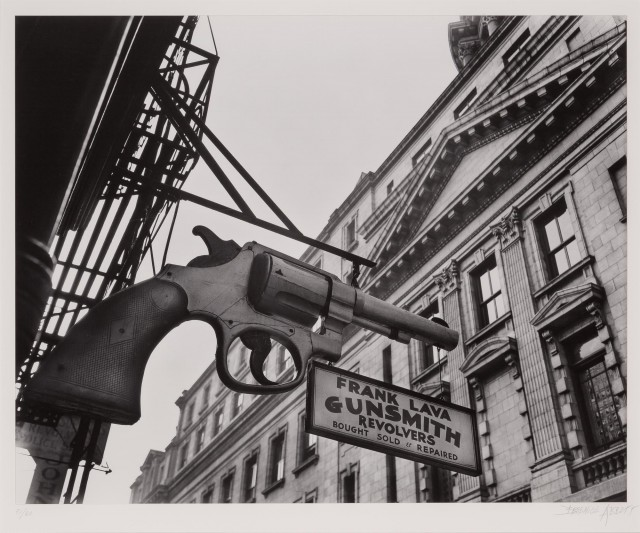 ABBOTT, BERENICE (1898-1991)  Gunsmith and Police Department, 6 Centre Market Place, Manhattan,