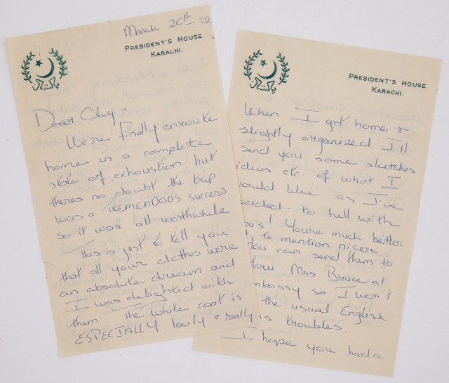 RADZIWILL, LEE  Autograph letter signed to Oleg Cassini written from Pakistan while on official visit with the First Lady.