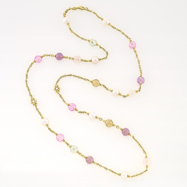 Judith Ripka Gold, Amethyst, Citrine, Rose Quartz, Glass, Freshwater Pearl and Diamond Chain Necklace