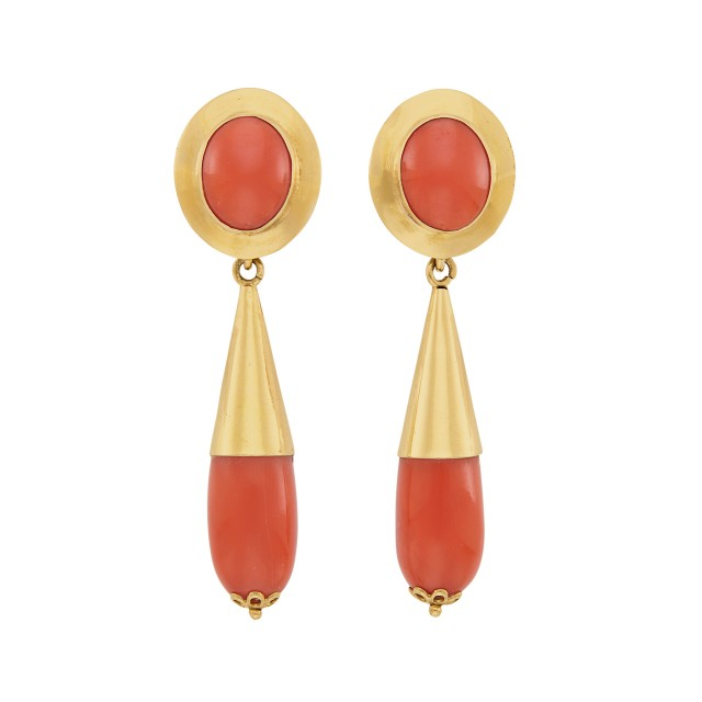 Pair of Gold and Coral Pendant-Earrings