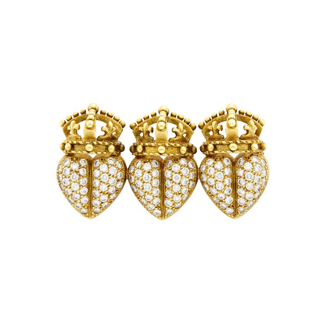 Gold and Diamond Triple Heart Crown Pin