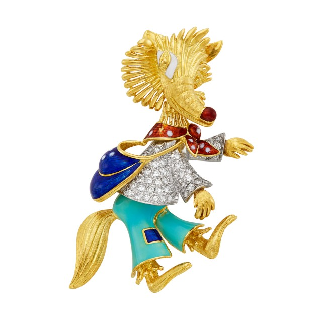 Two-Color Gold, Diamond and Enamel Fox Brooch