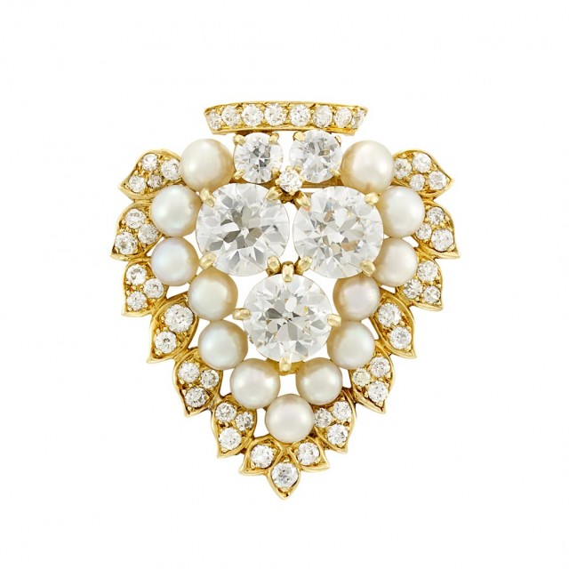 Gold, Diamond and Cultured Pearl Clip Brooch, Van Cleef & Arpels, with Gold and Cultured Pearl Fringe Jacket