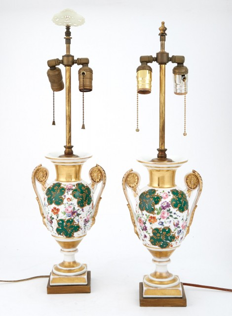 Pair of Paris Porcelain Two-Handled Vases as Lamps