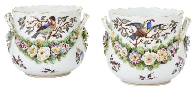 Pair of Continental Porcelain Cachepots