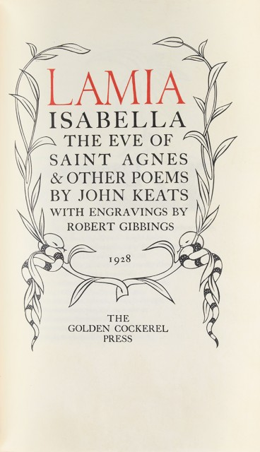 GOLDEN COCKEREL PRESS  KEATS, JOHN. Lamia, Isabella, the Eve of St. Agnes and other poems