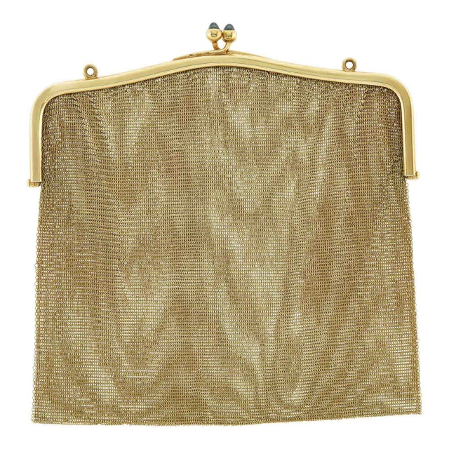 Gold and Sapphire Mesh Purse