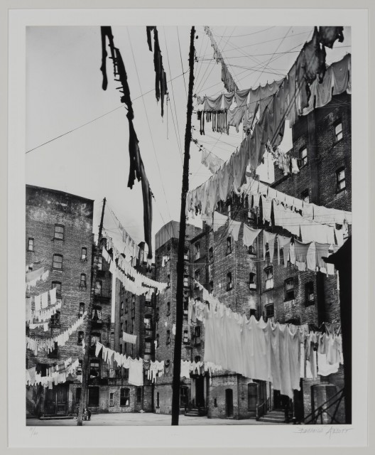 ABBOTT, BERENICE (1898-1991)  Clotheslines, court of first model tenement house in New York City,