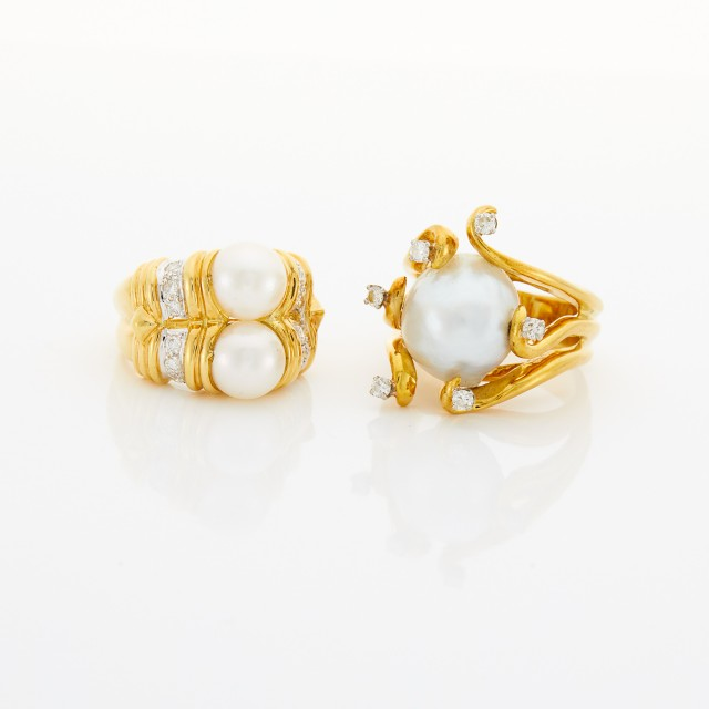 Two Gold, Cultured Pearl and Diamond Rings