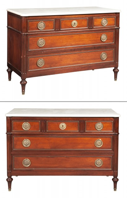 Pair of Louis XVI Style Marble Top Mahogany Commodes