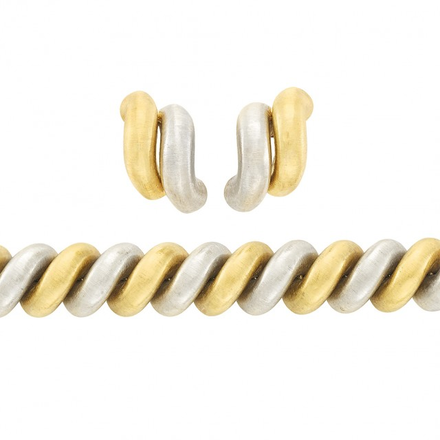 Two-Color Gold Bracelet and Pair of Earclips, Buccellati