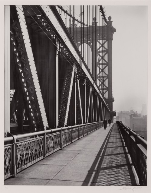 ABBOTT, BERENICE (1898-1991)  Manhattan Bridge, walkway,