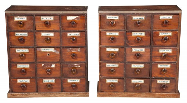 Pair of Victorian Brass-Mounted Mahogany and Pine Apothecary Chests