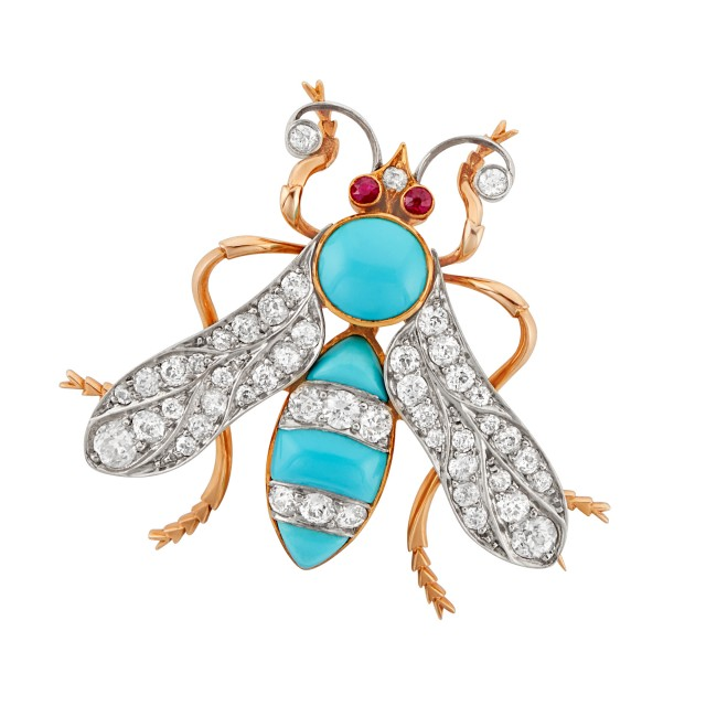 Antique Platinum-Topped Gold, Diamond and Turquoise Wasp Pin