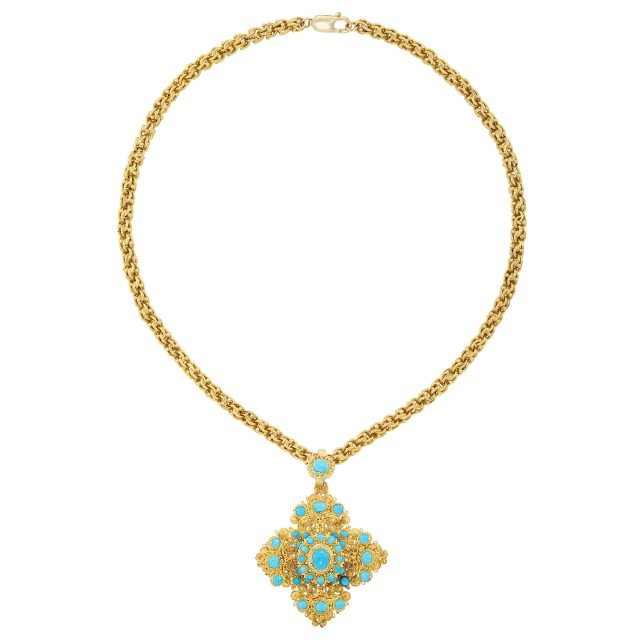 Cannetille Gold and Turquoise Pendant with Gold Chain Necklace