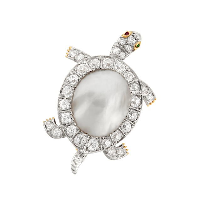 Edwardian Platinum-Topped Gold, Blister Pearl and Diamond Turtle Pin