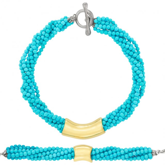 Seven Strand Turquoise Bead, Gold and Silver Torsade Necklace and Bracelet, Robert Lee Morris