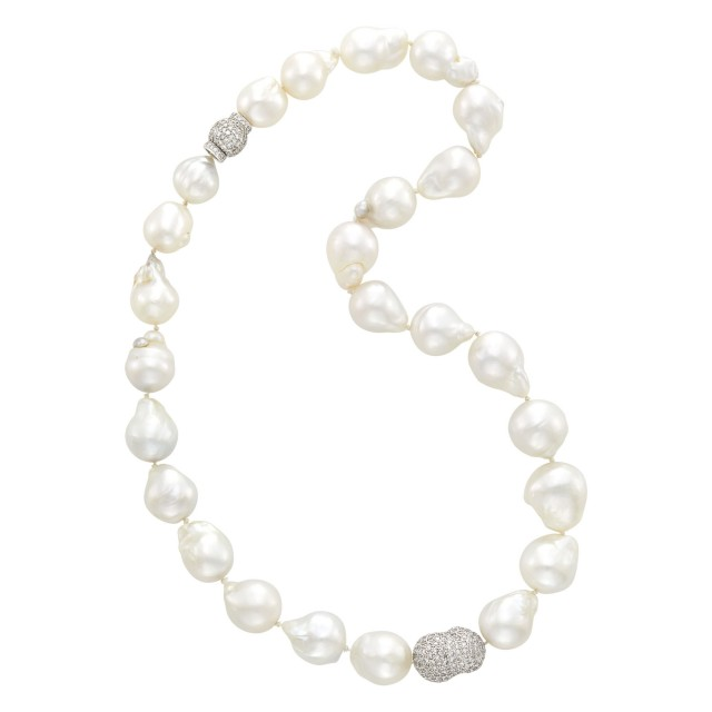 Baroque Cultured Pearl, White Gold and Diamond Necklace