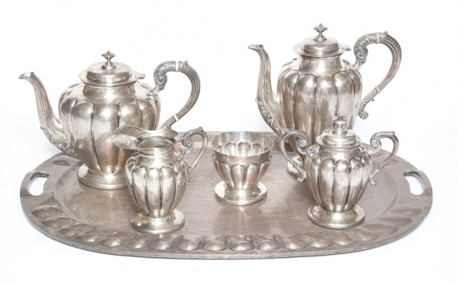 Mexican Sterling Silver Five-Piece Tea and Coffee Service