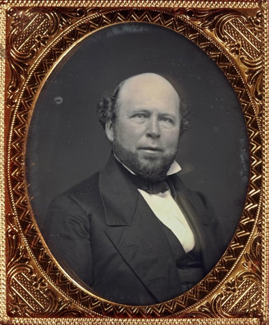 [DAGUERREOTYPE--PORTRAIT]  Group of two sixth-plate portrait daguerreotypes of the same subject, a bald bearded man
