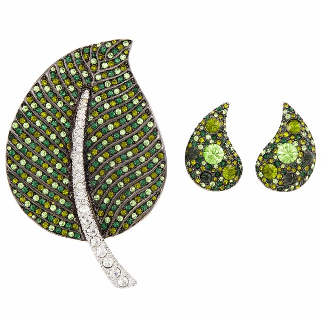 Metal, Green and White Rhinestone Leaf Brooch, Kenneth Jay Lane, and Pair of Earclips
