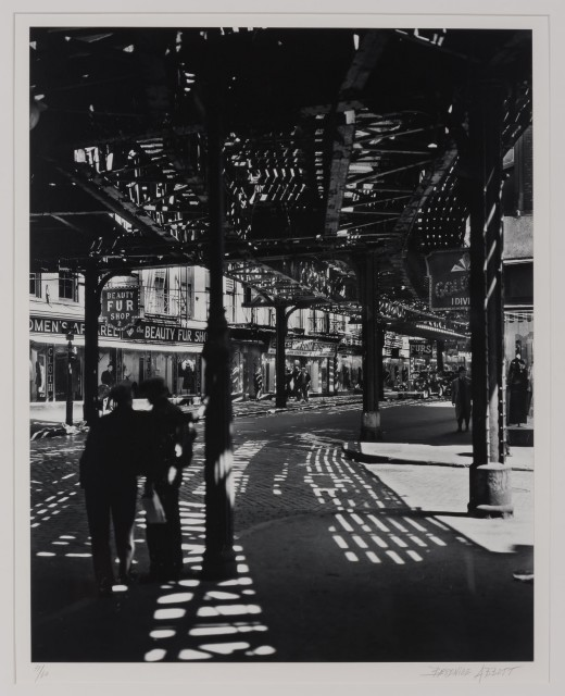 "ABBOTT, BERENICE (1898-1991)  The ""El,"" 2nd and 3rd Avenue lines. Bowery and Division,"
