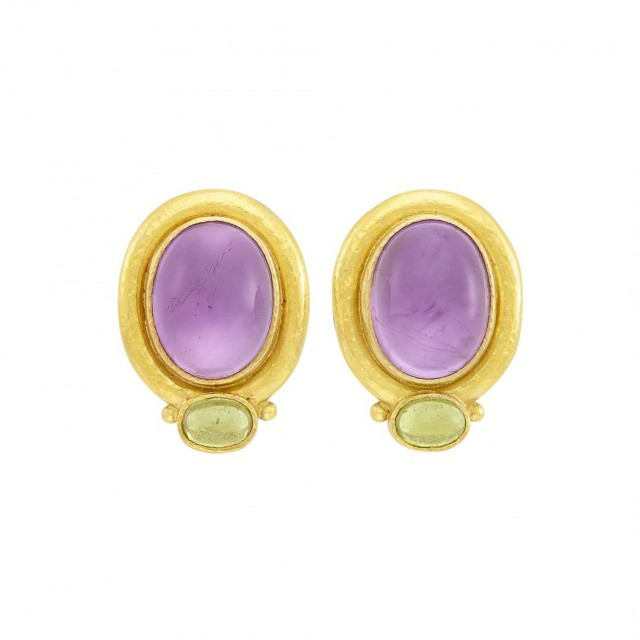 Pair of Gold, Cabochon Amethyst and Peridot Earclips, Elizabeth Locke