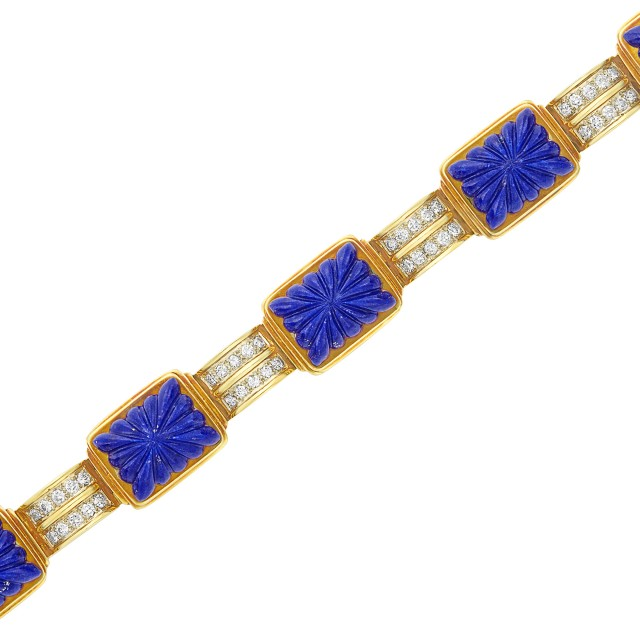 Gold, Fluted Lapis and Diamond Bracelet