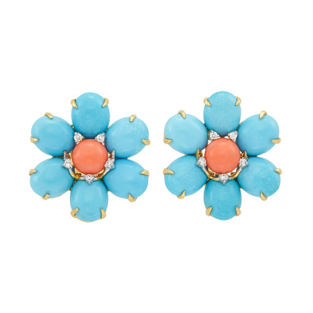Pair of Two-Color Gold, Turquoise, Coral and Diamond Flower Earclips