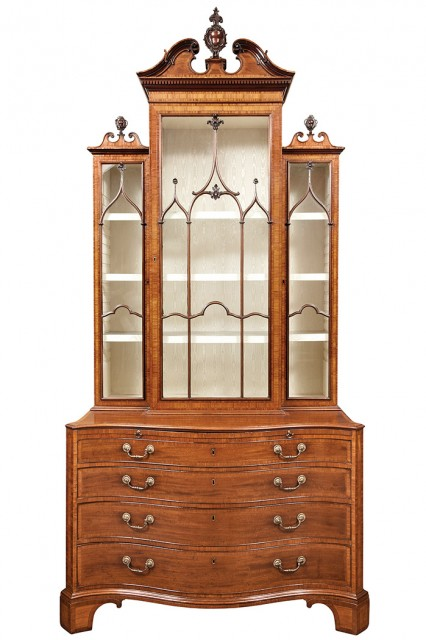 George III Inlaid Mahogany China Cabinet