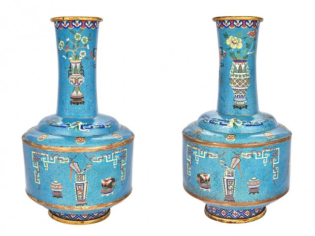 Pair of Chinese Cloisonné Enamel Vases