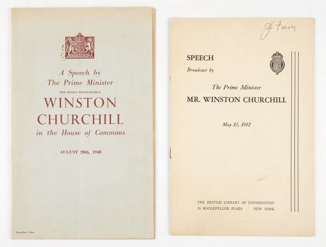CHURCHILL, WINSTON, Sir. A Speech by the Prime Minister The Right Honourable Winston Churchill in the House of Commons August 20th, 1940.