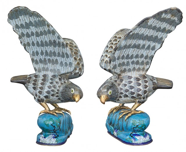Pair of Chinese Cloisonné Enamel Hawks