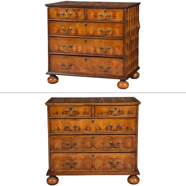 Two Queen Anne Style Oyster-Veneered Walnut Chest of Drawers