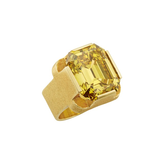 Gold and Treated Yellow Diamond Ring