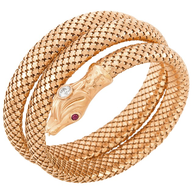 Coiled Rose Gold, Diamond and Cabochon Ruby Snake Bracelet
