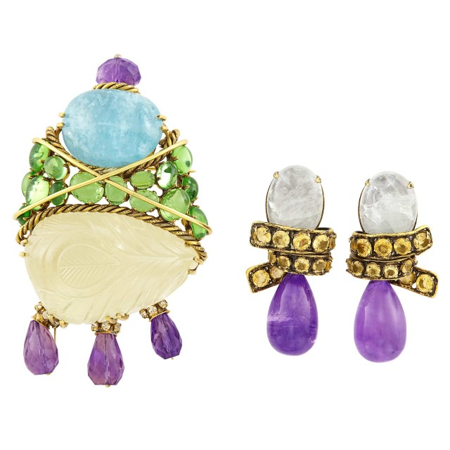 Metal, Aquamarine, Amethyst, Glass and Rhinestone Brooch and Pair of Pendant-Earclips, Iradj Moini