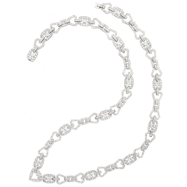 Art Deco Platinum and Diamond Necklace/Bracelet Combination, France